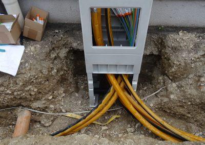 Kabelbau Leitungsbau Kasten mit Leitungen